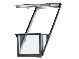 VELUX - GDL PK19 SK0W322 - Triple white-painted CABRIO balcony, triple glazing, tile, 302x252