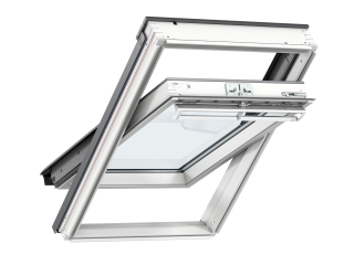 VELUX - GGL CK04 SD0L11106 - WP centre-pivot RW, insulated slate flashing, beige blackout blind
